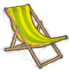 Striped beach chair vector
