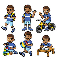 Student boy set in various poses and activities vector