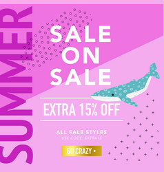 summer sale banner with cute whales promotional vector image