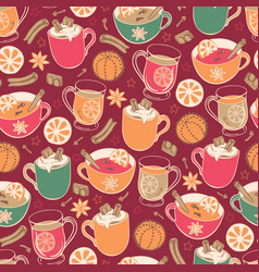 Super cute red hygge christmas hot drinks and vector