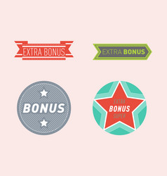 Super extra bonus banners text in color drawn vector