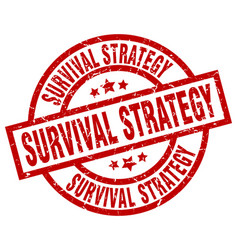 Survival strategy round red grunge stamp vector