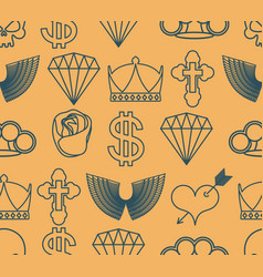 tattoo seamless pattern skull and brass knuckles vector image
