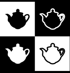 Tea maker sign black and white icons and vector