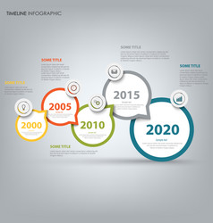 time line info graphic with design round pointers vector image