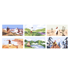 travelers enjoying scenic view flat vector image