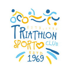 Triathlon sport since 1969 logo colorful hand vector