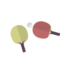 two rackets in flat style for playing ping pong vector image