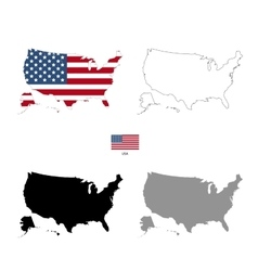 Usa country black silhouette and with flag on vector