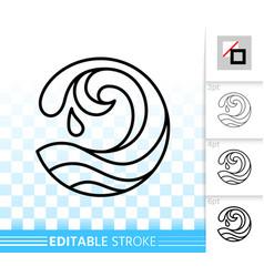 Wave sea simple black thin line splash icon vector