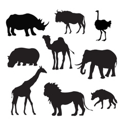 Wild African Animals Black vector
