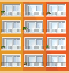Window colorful apartment building vector
