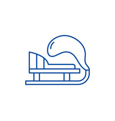 winter sled line icon concept winter sled flat vector image