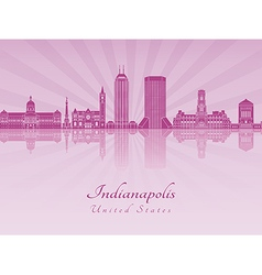 Indianapolis skyline in purple radiant orchid vector image vector image