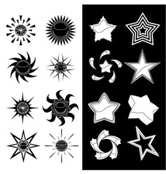 star and sun symbols vector image vector image