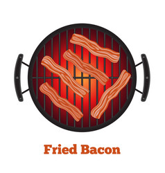 barbecue pan with bacon bbq banner flat style vector image vector image
