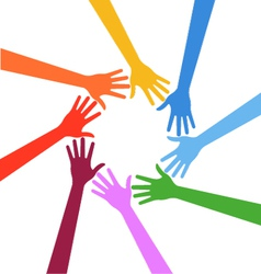 Hands in circle Teamwork concept vector image vector image