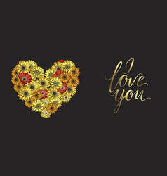 Heart of red and yellow daisies flowers vector