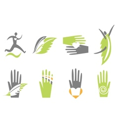 Icons with hand heart and human vector image