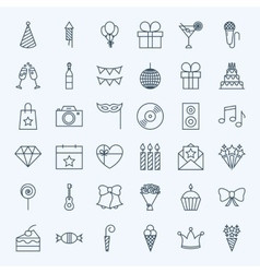 Line birthday party icons vector