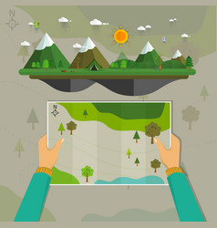 man on a hiking trip holding a map vector image