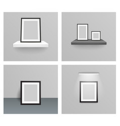 photo frame 3d realistic design hanging shelf wall vector image