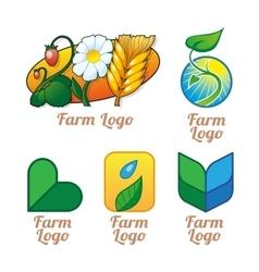 Set of green orange and blue natural organic vector image