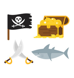 treasures pirate adventures toy accessories icons vector image vector image