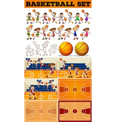 Basketball set with players and courts vector image vector image