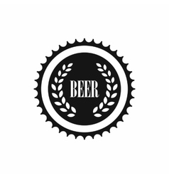 Beer bottle cap icon simple style vector image