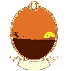 Cowboy western background with rope frame vector