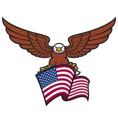 eagle with USA flag vector image vector image