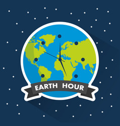 earth hour clock world environment starry vector image