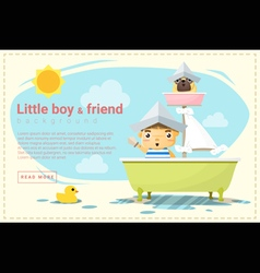 Little boy ship captain and friend background vector image