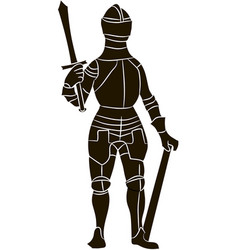 medieval knight in metal armor vector image vector image