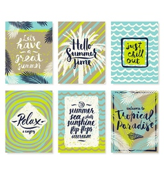 Summer vacation posters or greeting card vector image vector image