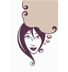 thinking beautiful girl vector image