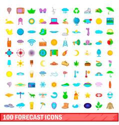 100 forecast icons set cartoon style vector