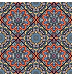 Boho tile flower squares colorful 1 vector image vector image