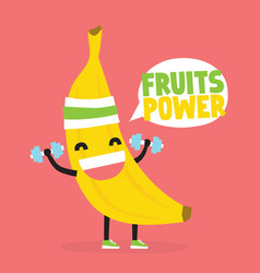 fruits power cute kawaii banana bodybuilder vector image