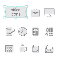 Thin line icons set Office vector image