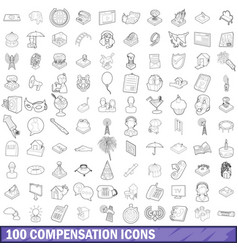 100 compensation icons set outline style vector image