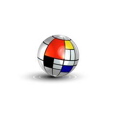3d metallic ball colorful sphere mondrian texture vector image