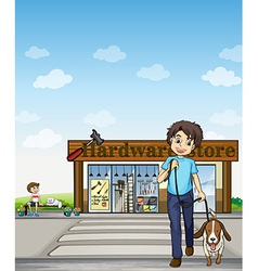 A boy crossing the street vector