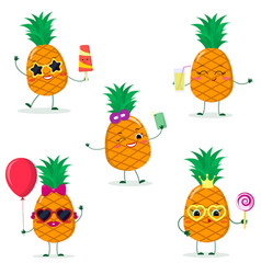 a set of five pineapples smiley in different poses vector image