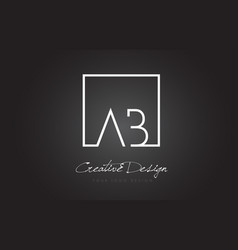 Ab square frame letter logo design with black and vector