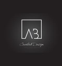 Ab square frame letter logo design with black vector