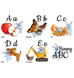 Alphabet letters for kids with pictures vector