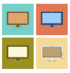assembly flat icon computer monitor vector image