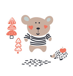 Baby bear cute animal in the woods vector